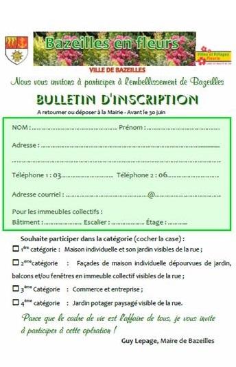 Fleurissement/Bulletin d'inscription du Concours des maisons fleuries